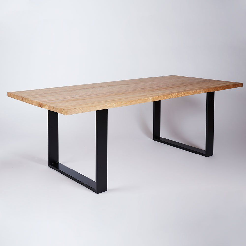 The Pyrmont Dining Table Elm Timber Top On Black Steel Legs