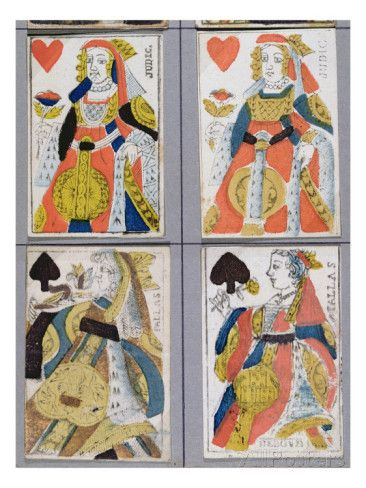 Queen of Spades and Queen of Hearts Playing Cards, 17th - 18th Century Giclee Print