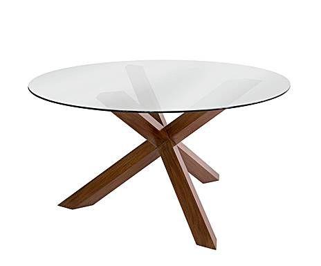 Maderas nobles mesa de caoba y cristal redonda caoba - Cristales para mesas redondas ...