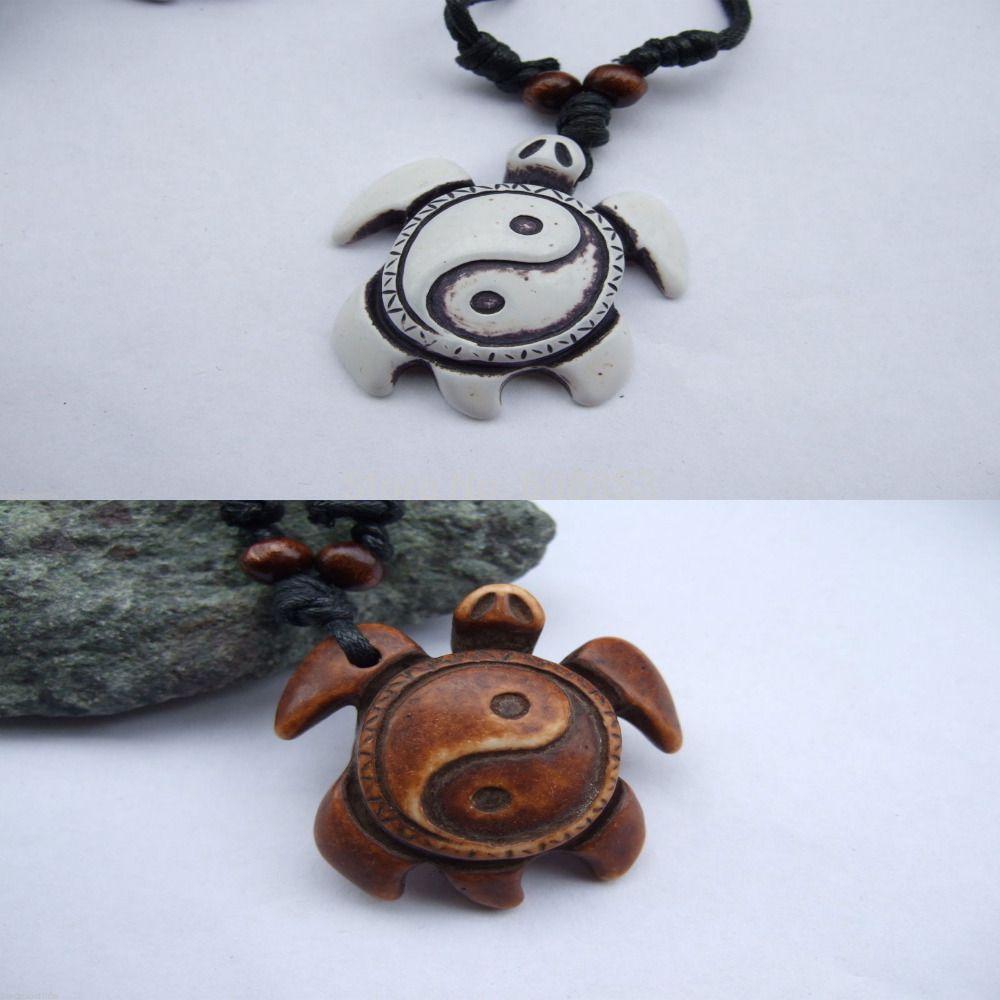 Pcs whitebrown yin yang taichi turtle yak bone powder resin amulet