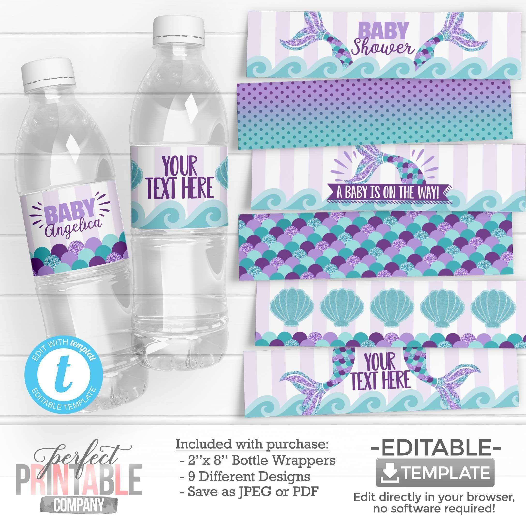 Mermaid Water Bottle Labels Mermaid Water Bottle Wrappers Etsy In 2020 Bottle Wrappers Mermaid Baby Shower Decorations Mermaid Water Bottle