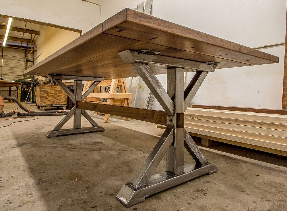 We Build Custom Farmhouse Table Hardwood Furniture Industrial Farmhouse Table Farmhouse Table Metal Table Base