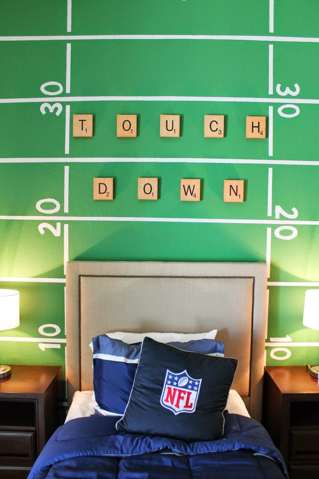Boys football themed bedroom. Football field wall treatment, just ...