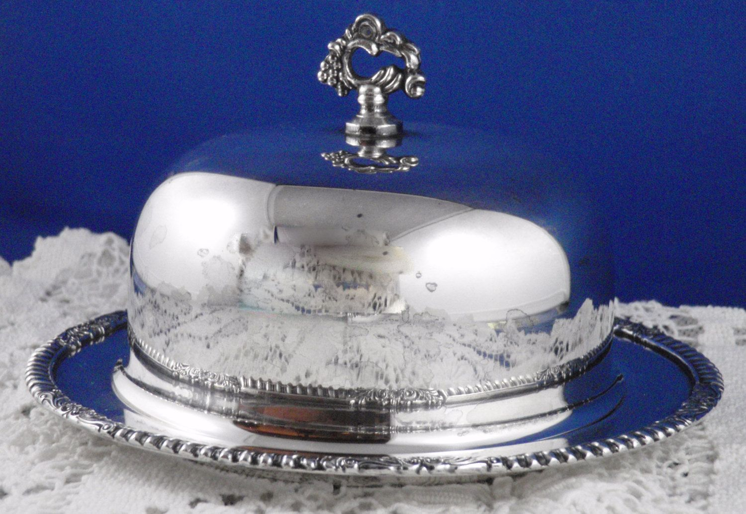Silverplate Domed Butter Dish, Sheffield Reproduction