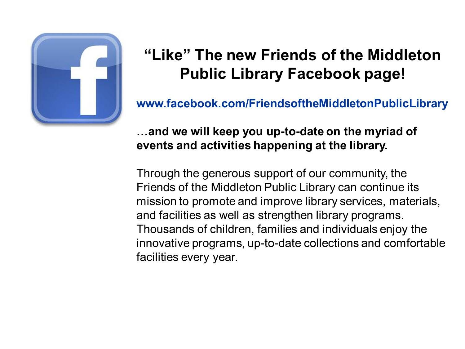 Middleton Public Library Programs and Events Page