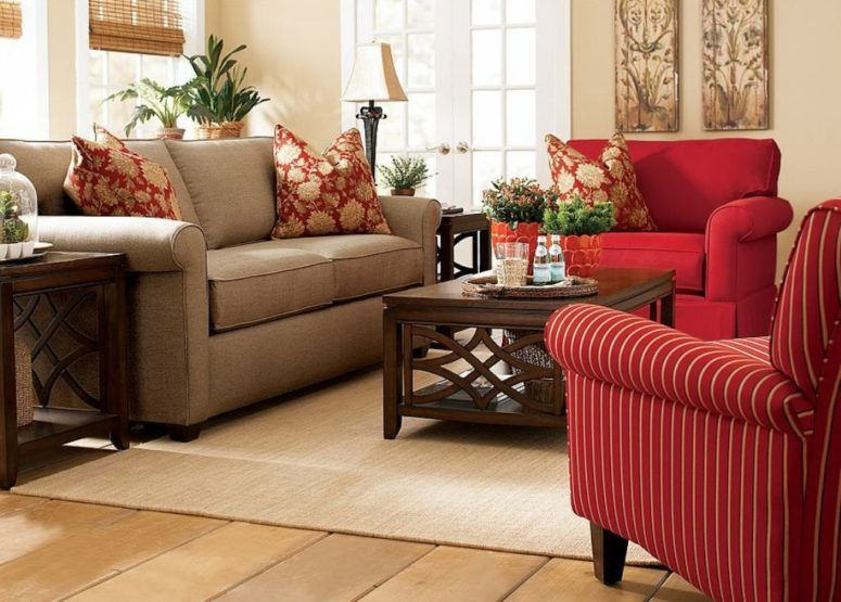 Round Brown Upholstered Ottoman Cozy Decorating Ideas For Living Rooms Stainless Stell Ikea A Contemporary Living Room Design Living Room Red Living Room Color #red #living #room #furniture #decorating #ideas