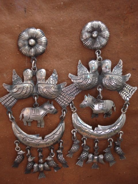 Mexican Taxco Frida Kahlo Inspired Sterling Earrings W Birds And Burros 349