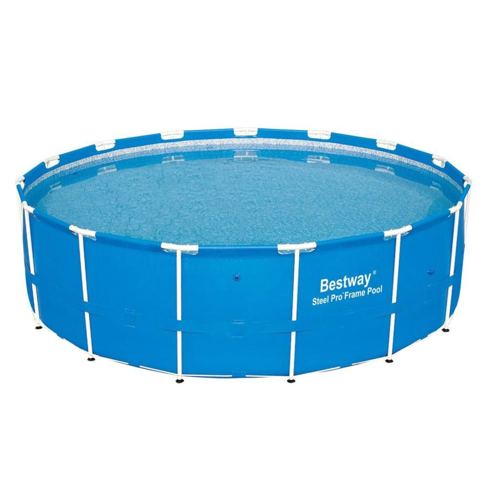 Bestway 15 Ft X 48 In D Round Hard Side Side Steel Pro Frame Above Ground Swimming Pool 12752 Bw The Home Depot Pool Installation Best Above Ground Pool Portable Swimming Pools