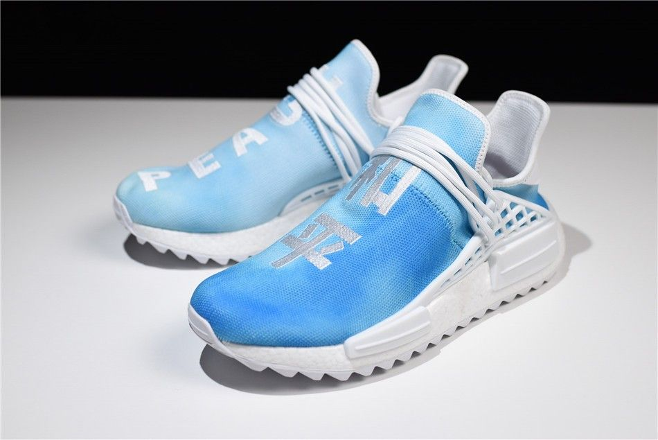 "e39a666f752ac F99673 Pharrell x adidas Originals NMD Human Race ""China Exclusive"" Peace  Blue Footwear White 2018"