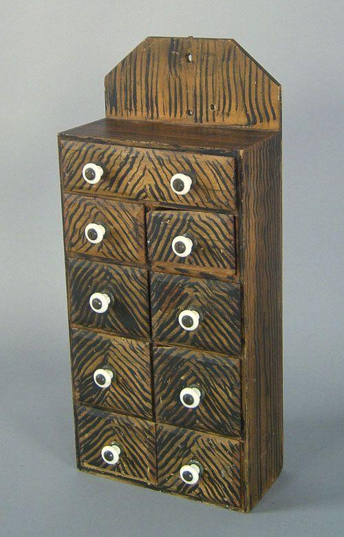 "Pennsylvania poplar hanging spice box, late 19th c., 20 1/2"" h., 9"" w."