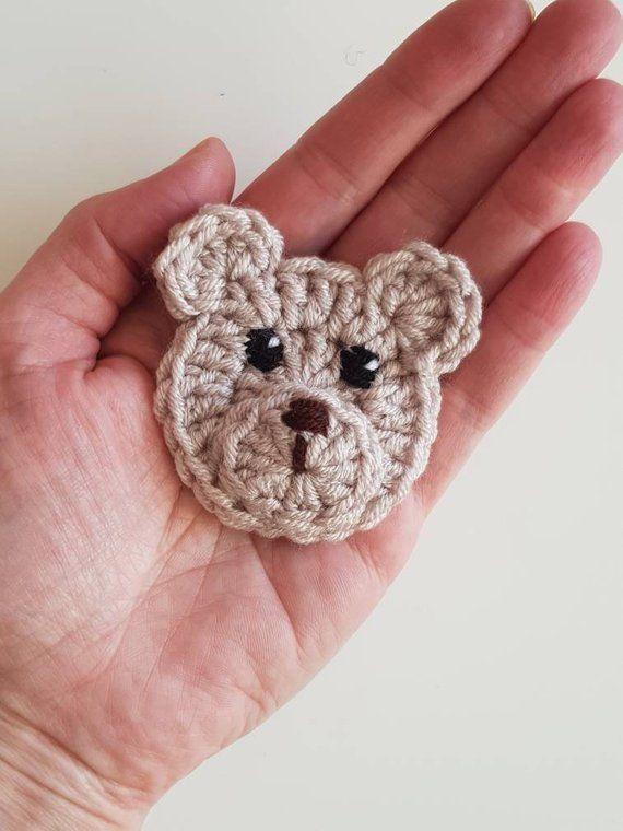 Items similar to Crochet Bear Applique Set of 2pcs, Woodland Animals, Crochet Animals, Teddy Bear Applique, Animal Motifs, Sewn on Applique, Kids Clothing on Etsy