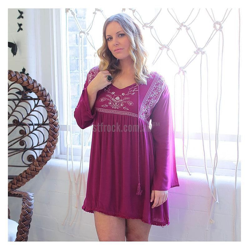 "Love this bohemian dress! Get the ""Gloria Dress in Cherry"" for $59.90 at shop.stfrock.com.au #stfrock #dress #bohemian #cherry"