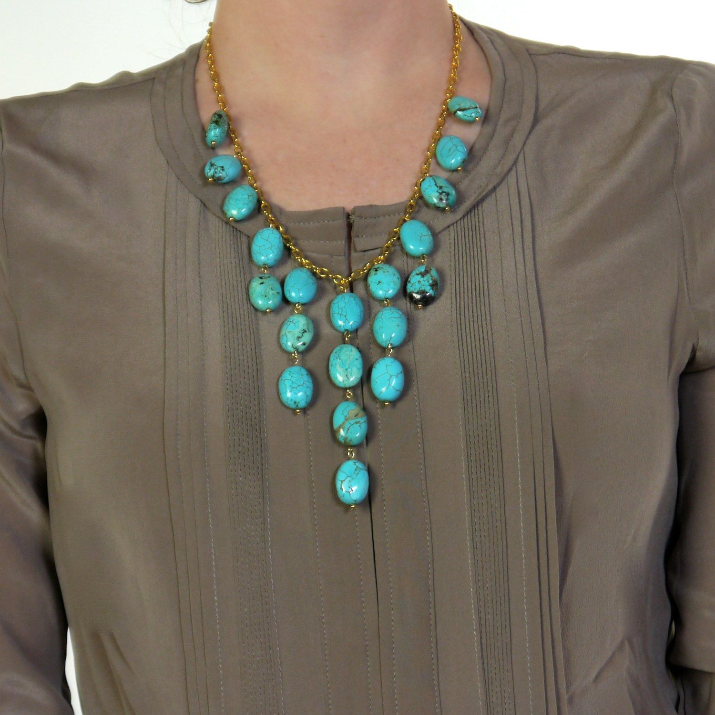 Turquoise Bib Statement Necklace. $40.00, via Etsy.