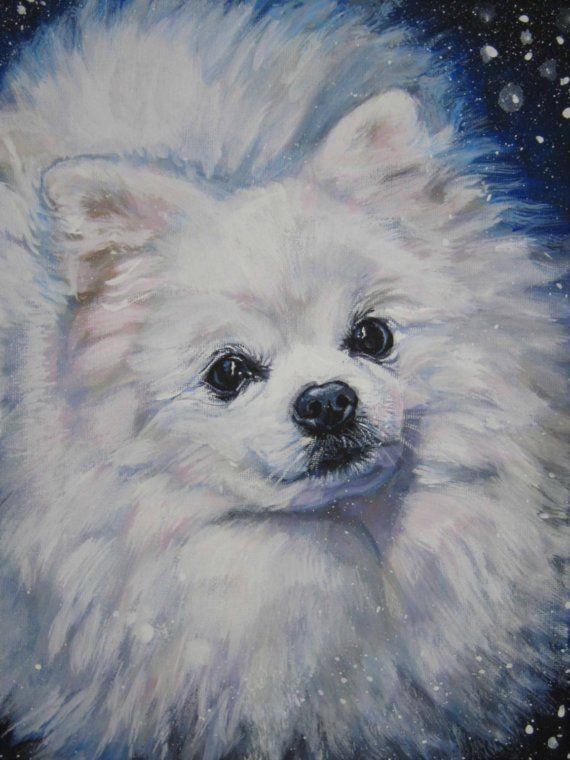 English Print White Pomeranian Pup Dog Art Picture