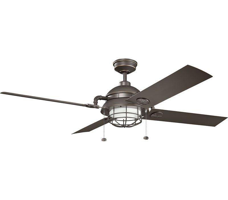 Kichler 310136wzc High Airflow Ceiling Fan Weathered Zinc 65 Outdoor High Airflow Ceiling Fan With Light Ceiling Fan Outdoor Ceiling Fans Led Ceiling Fan