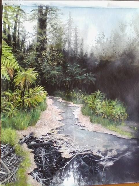 Moving Along With My Whakarewarewa Forest Thermal Pool Painting