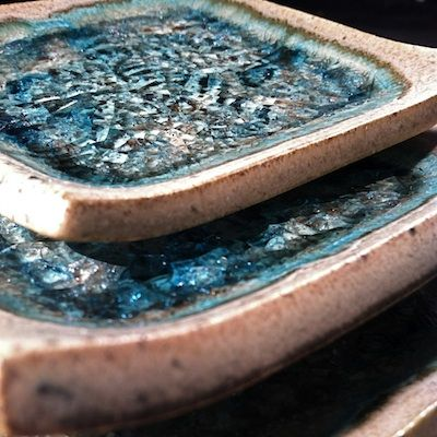 Recycled Glass Fused Pottery Dish Pottery Dishes Ceramic Soap Dish Clay Ceramics