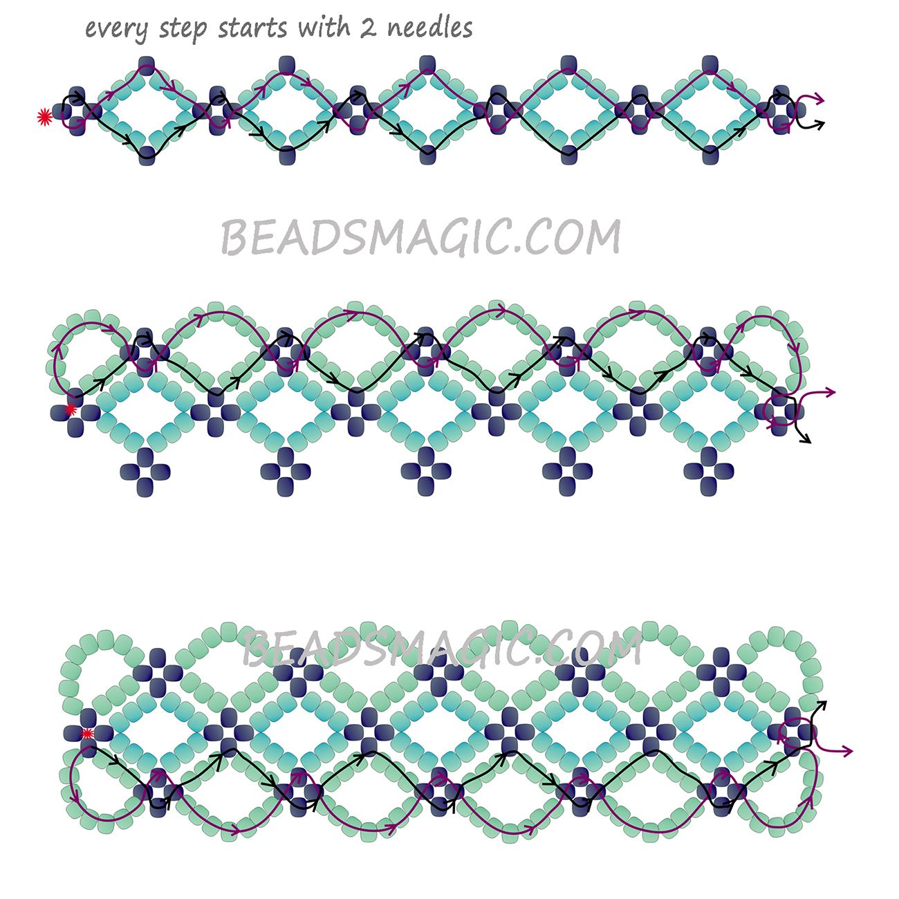 Free Pattern For Bracelet Santorini Beads Magic