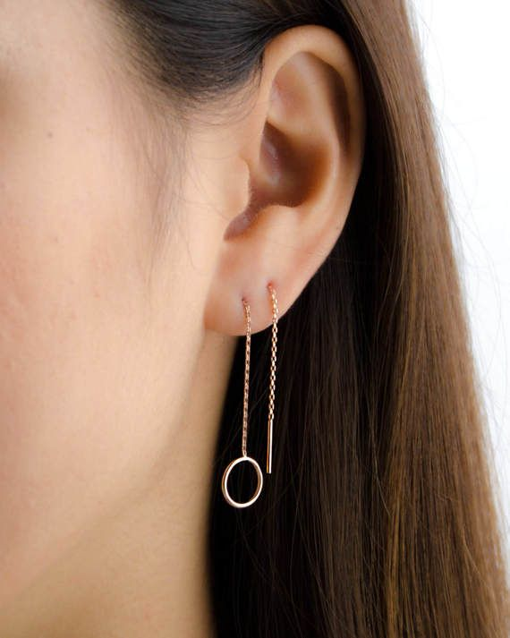 Sterling Silver Threader Earrings,Dangle Pull Through Earrings