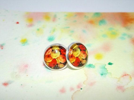 Yellow floral stud earrings  Spring stud by DarkFireHandmade