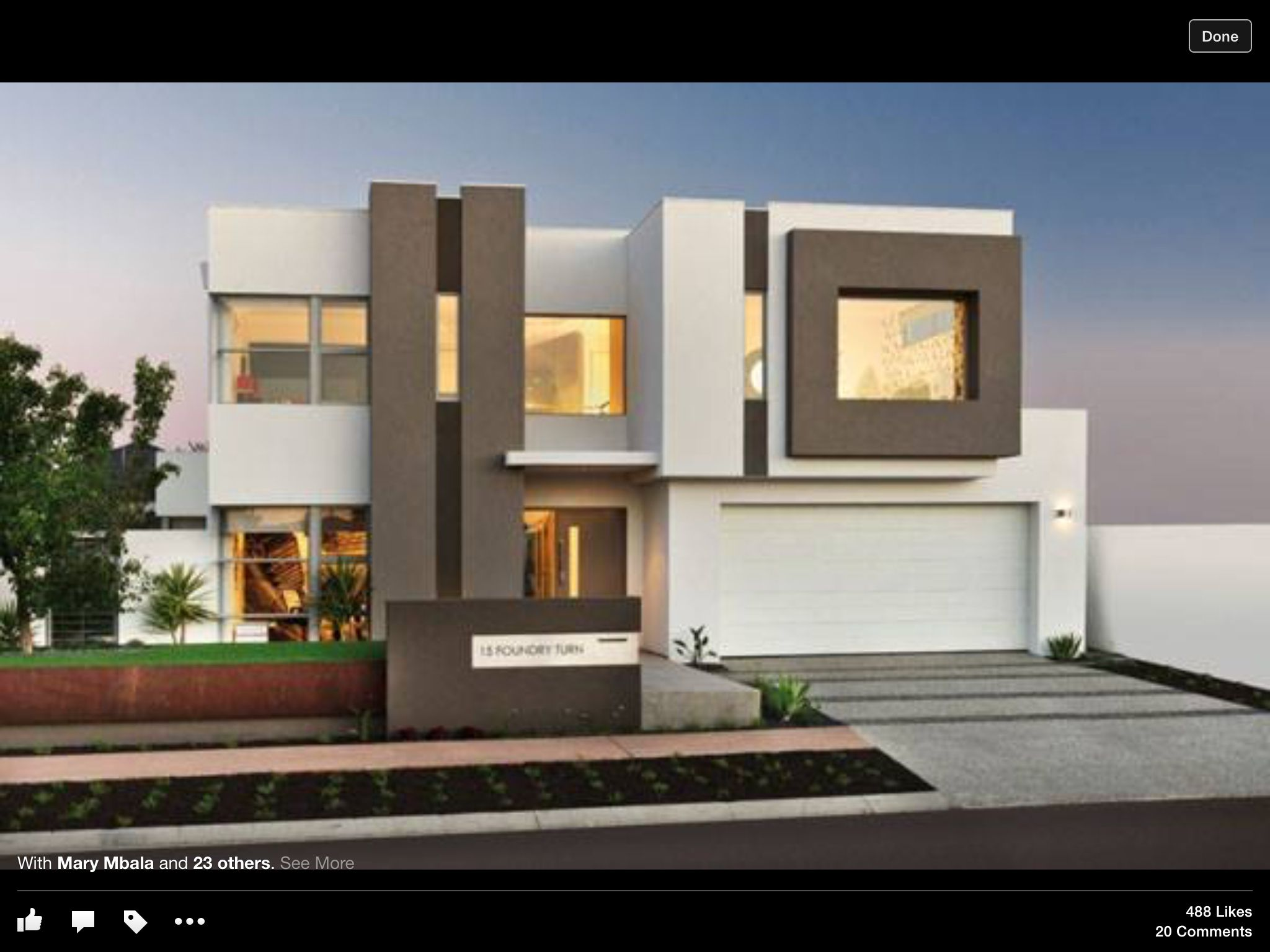Pakistan modern home designs modern desert homes - Rendered White And Brown 2 Storey House Contemporary