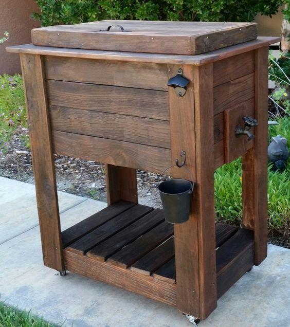 Diy Outdoor Cooler Table Google Search Diy Bench Chest Hielera De Madera Proyectos De Madera De Granero Muebles De Pales