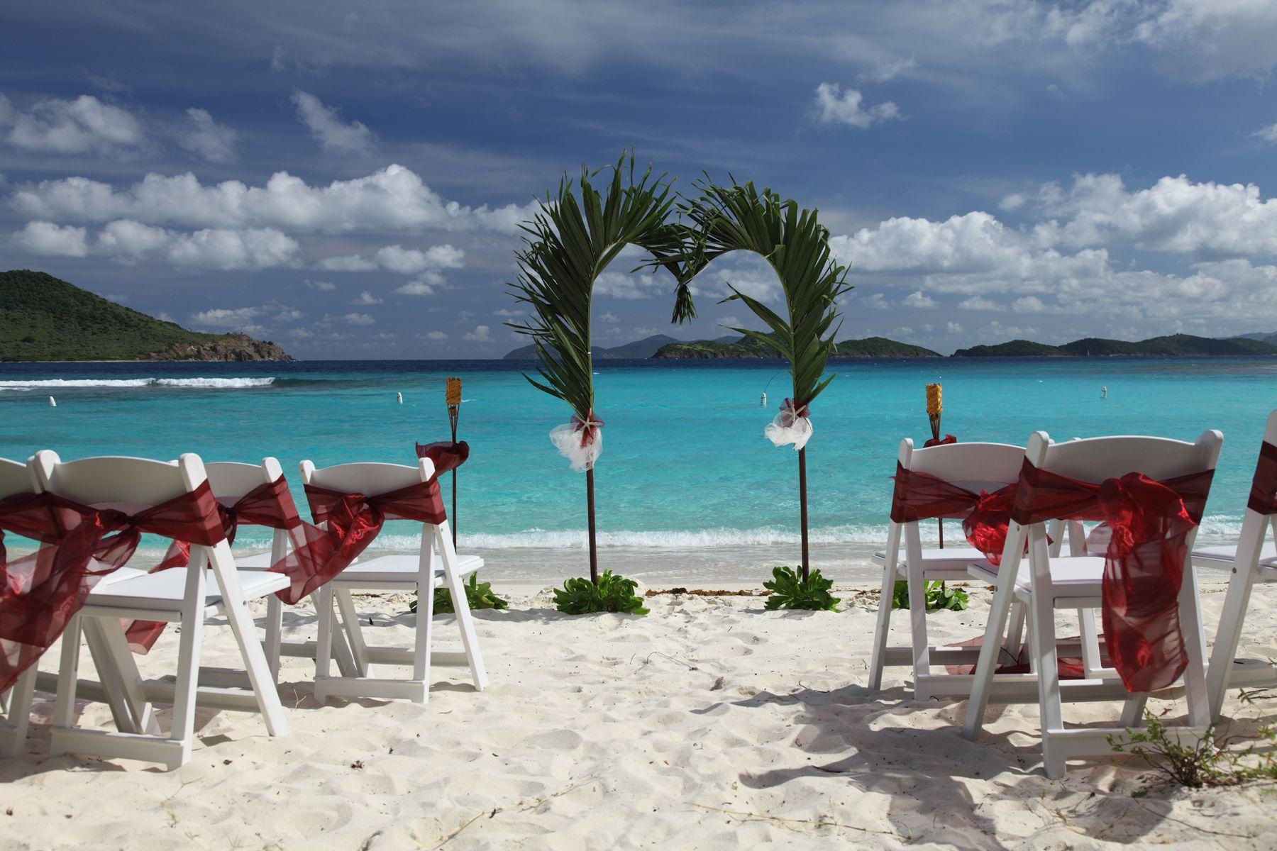 Tropical Beach Wedding Set Up Stthomaswedding Stthomasbeachwedding Stthomasweddingplanner Cruiseshipweddings