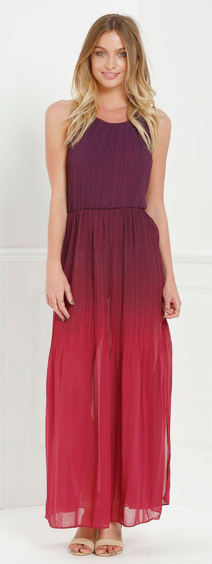 Halter ombre color high slit maxi dress pinterest ombre colour