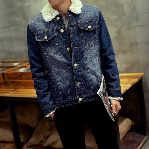 c00b0799d4887 Men s Winter Jeans Jacket Men Thick Warm Fleece Lined Denim Jacket With  Faux Fur Turn Collar Coat Plus Size M-XXXL - Cheap Product is Available.