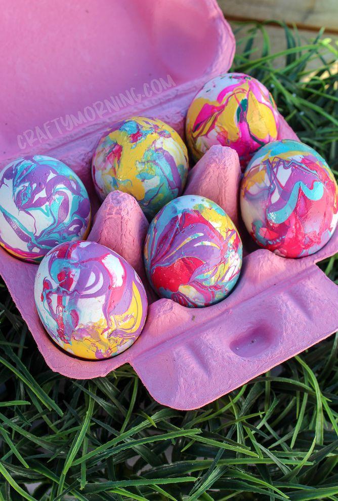 Nail Polish Marbled Easter Eggs Easter Egg Crafts Easter Eggs Egg Decorating