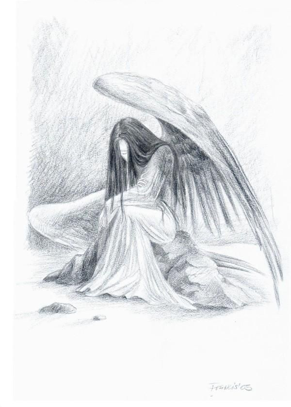 Angel sketches in pencil