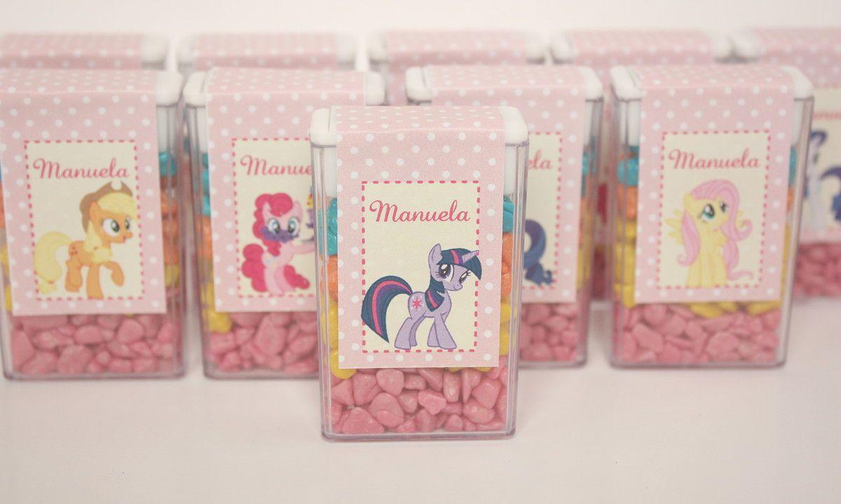 """Caixinha com mini chicletes tema """"My Little Pony"""". <br>Personalizamos em outros temas!"""