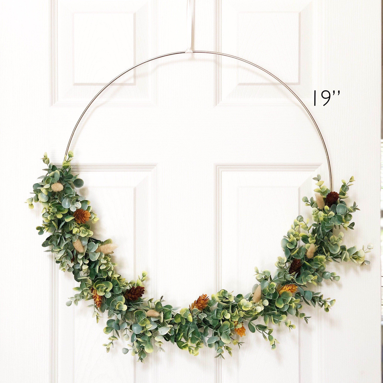 "Photo of 19 ""Large modern hoop wreath in autumn – High wreath in autumn decor – Large hoop wreath, artificial eucalyptus wreath, wreath in a modern style – Autumn wreath"
