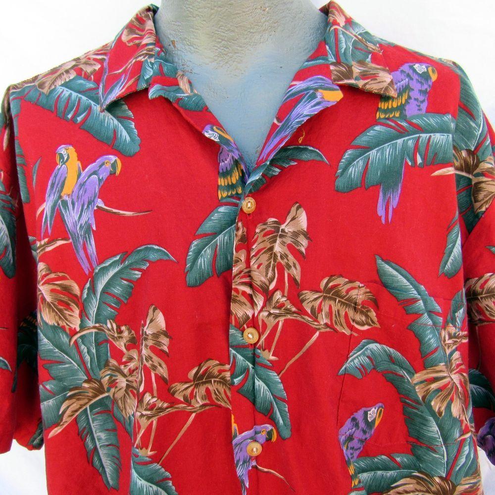 473a8034 Paradise Found Magnum P.I. Jungle Birds Hawaiian Shirt Size 3X Red Parrots  PI #ParadiseFound #Hawaiian