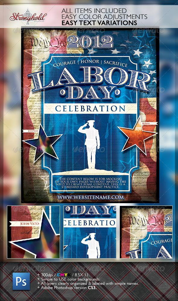 Vintage Labor Day Flyer Template Fonts-logos-icons Pinterest - labour day flyer template