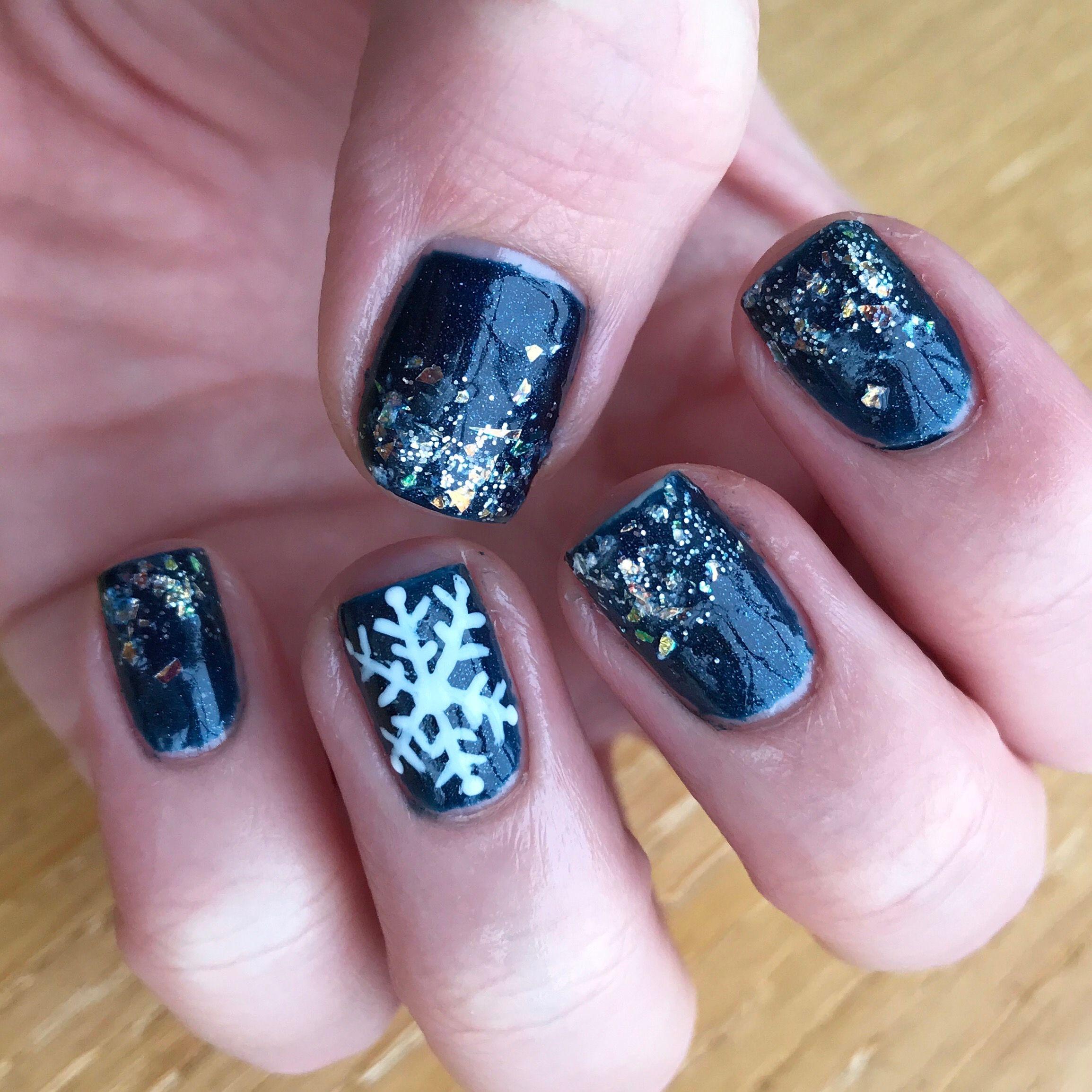 Nail designs. Glitter nails. Shellac nail designs. Dark blue nails ...