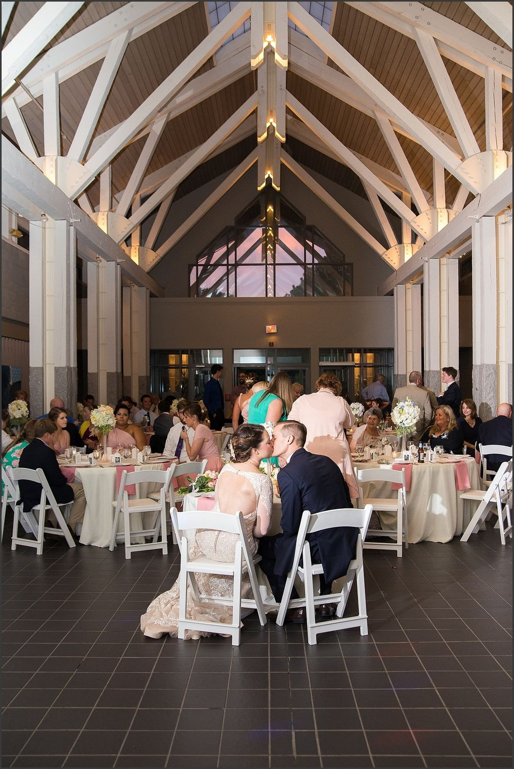 Blush And Navy Norfolk Botanical Gardens Wedding Reception In Baker Hall