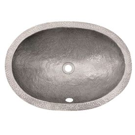 Barclay Hammered Pewter Copper Undermount Oval Bathroom Sink With