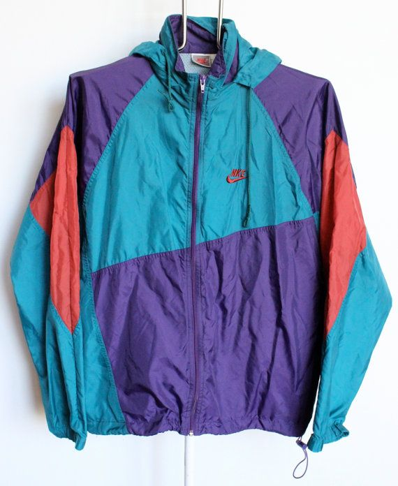 7b7451dddf3f2 Vintage Nike Windbreaker Jacket Mens Large Turquoise Purple Red with ...