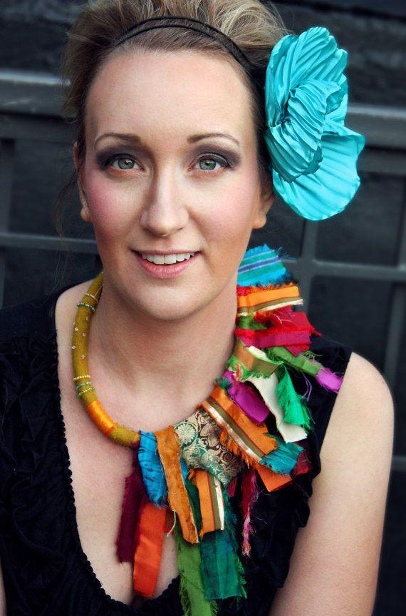 Gypsy Caravan Couture Upcycled Bohemian Sari Neckl