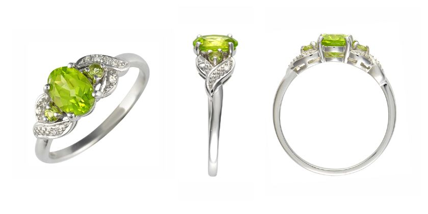 peridot white gold and diamond dress ring ivy gems