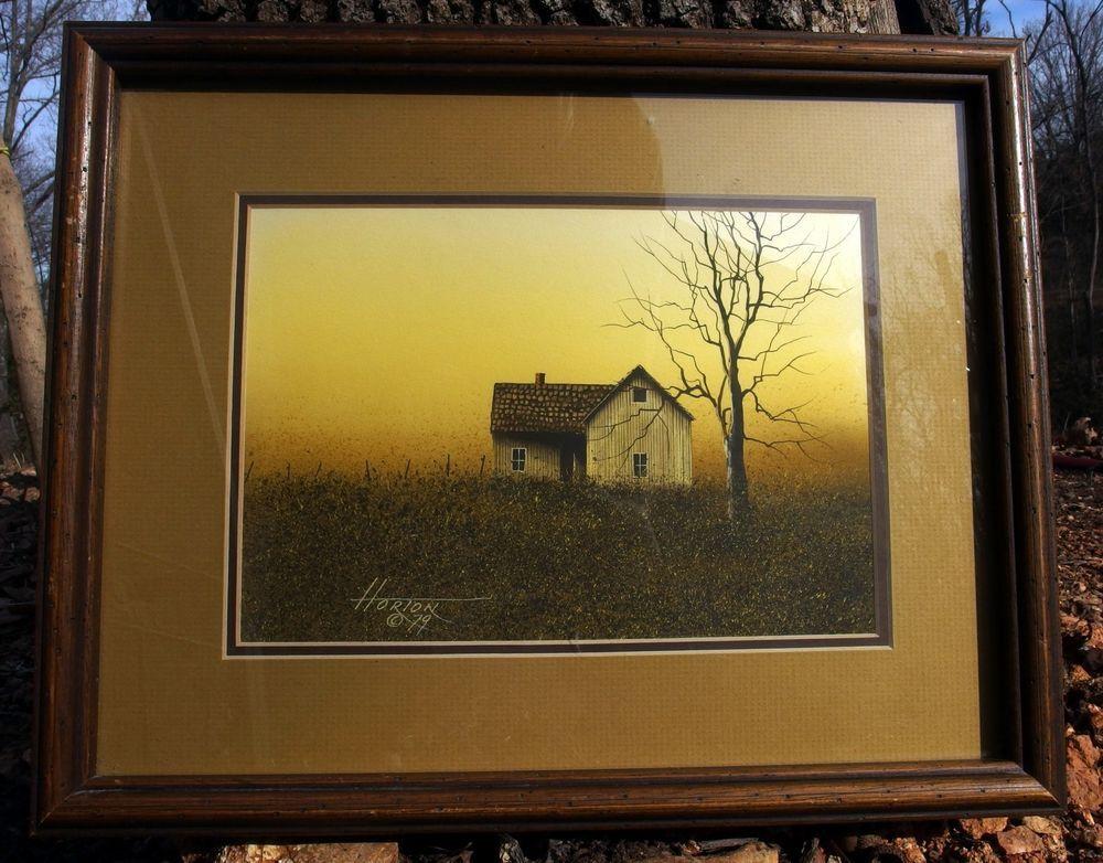 http://stores.ebay.com/mariasantiqueandvintage Horton Signed Original Watercolor Painting Farm House Winter Scene #Realism
