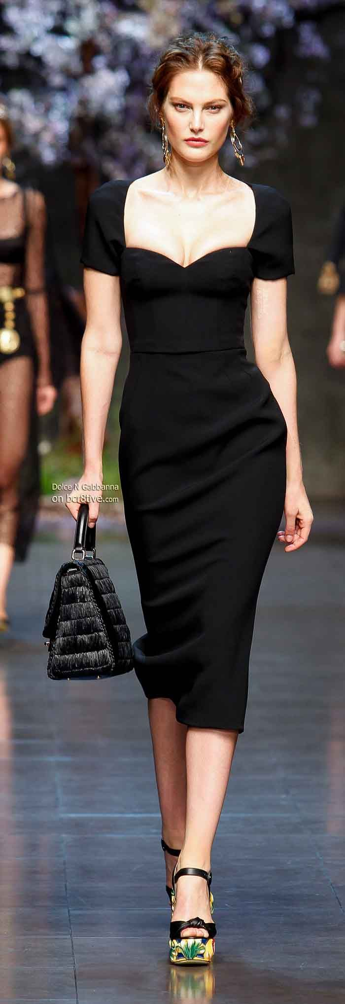f58405fb Dolce & Gabbana Spring 2014 -Love the neckline on this little black dress.