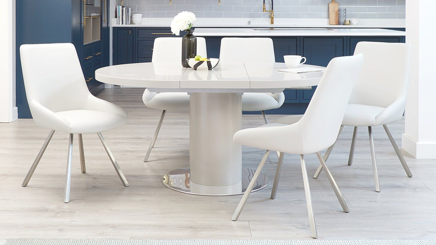 Curva Matt Grey Extending And Theo Dining Set Round Extendable