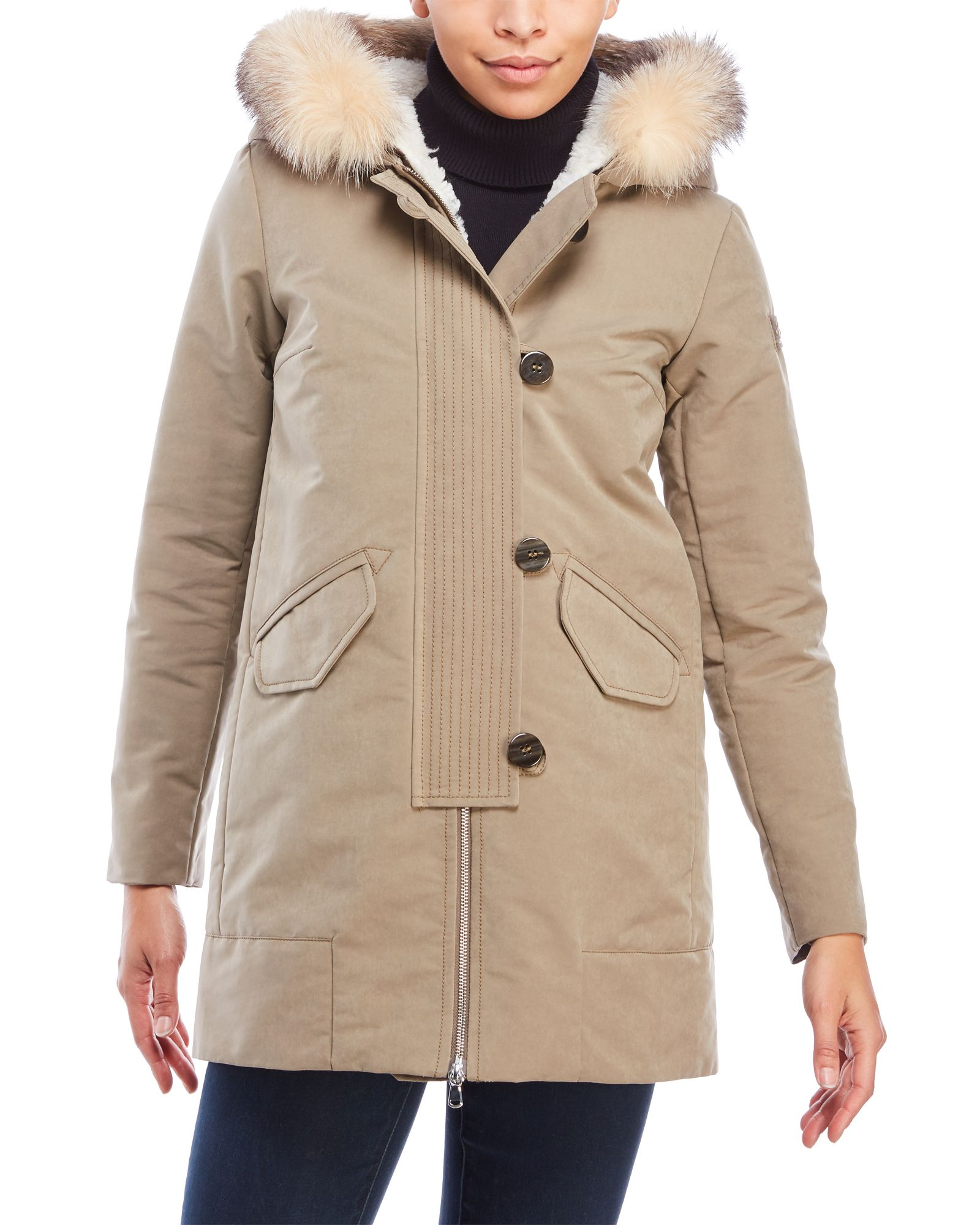 Peuterey Loftus Real Fur Trim Hooded Coat