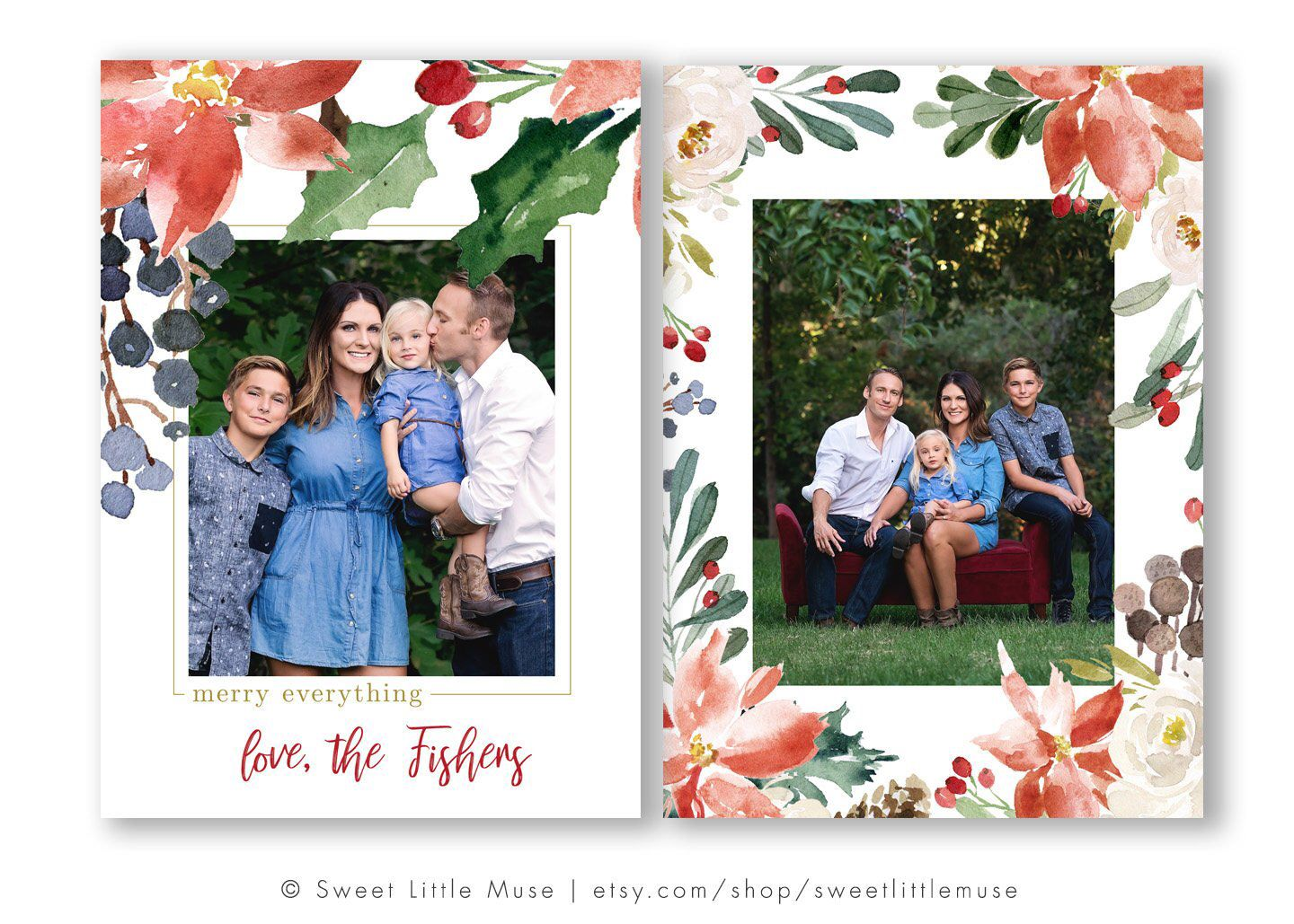 Watercolor Christmas Card Template Holiday Card Template For Etsy In 2021 Christmas Card Template Holiday Card Template Watercolor Christmas Cards