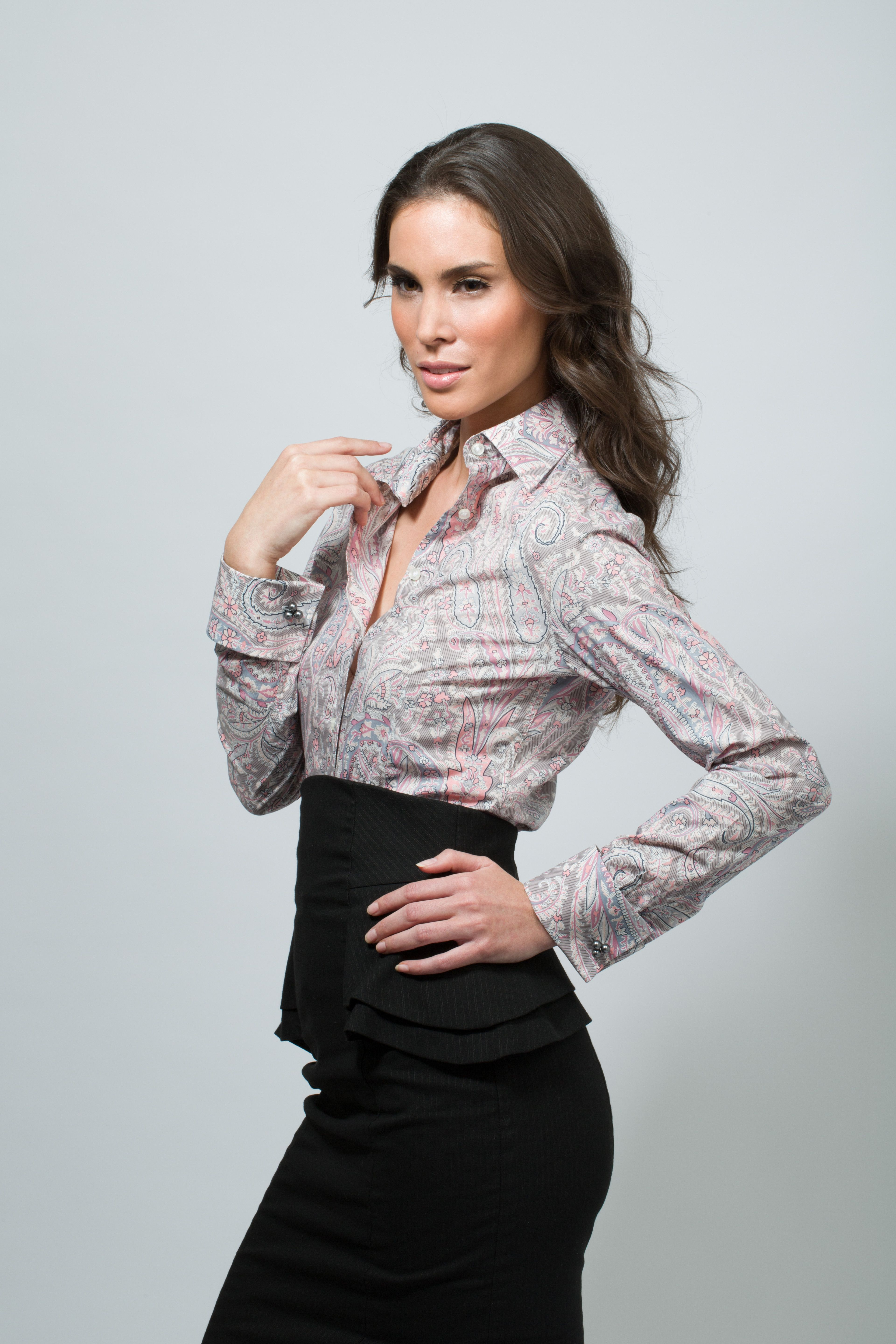 Paisley French Cuff Shirt With Miss Links Lydia Pearl Cufflinks