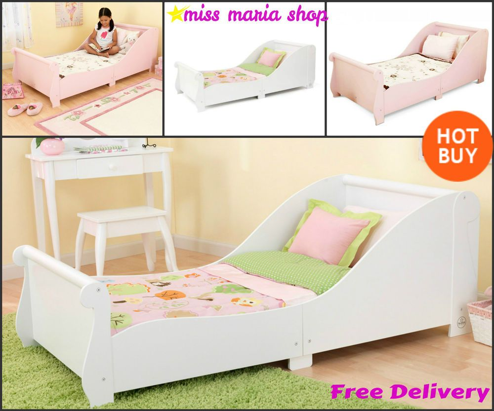 Girls Single Bed White Pink Sleigh Toddlers Kids Bedroom Furniture ...