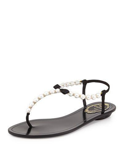 RENE CAOVILLA Pearly  Crystal Thong Sandal, Black/White $725