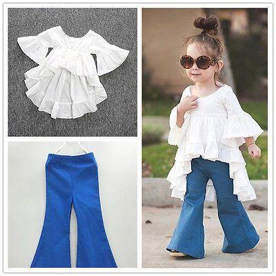 Demin Bell Bottom Pants Set Fall Winter Outfits 2PC Kids Little Girls White Cotton Floral Shirt Top